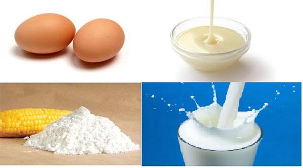 Nguyên liệu chuẩn bị làm bánh sữa tươi chiên