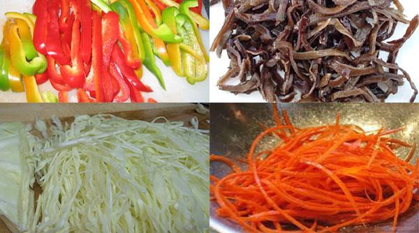 Cách làm nem chay - thái sợi rau củ quả